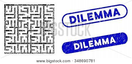 Mosaic Labyrinth And Rubber Stamp Seals With Dilemma Phrase. Mosaic Vector Labyrinth Is Formed With