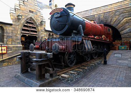 Osaka , Japan - Jan 20 2020 : The Hogwarts Express Train At The Wizarding World Of Harry Potter In U