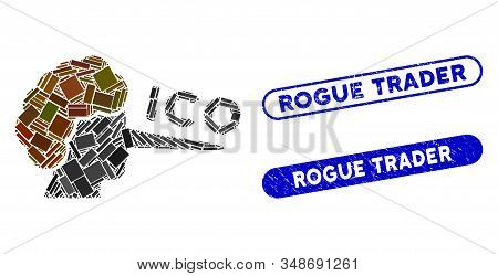 Collage Ico Liar And Rubber Stamp Seals With Rogue Trader Caption. Mosaic Vector Ico Liar Is Formed