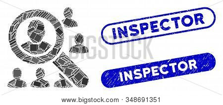 Collage Find Users And Grunge Stamp Seals With Inspector Phrase. Mosaic Vector Find Users Is Designe
