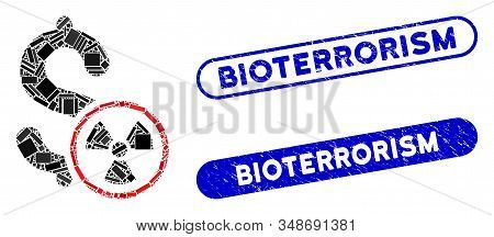 Mosaic Atomic Credit And Rubber Stamp Seals With Bioterrorism Text. Mosaic Vector Atomic Credit Is C