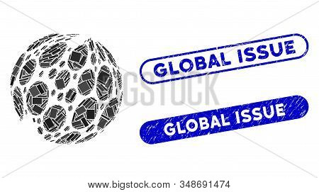 Mosaic Spotted Abstract Sphere And Grunge Stamp Seals With Global Issue Phrase. Mosaic Vector Spotte