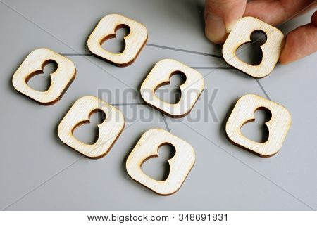 Delegate Concept. Hand Holds Figure As Symbol A Team Connected For Delegating And Outsourcing.