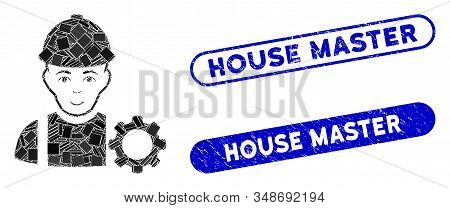 Mosaic Repairman And Grunge Stamp Watermarks With House Master Phrase. Mosaic Vector Repairman Is De