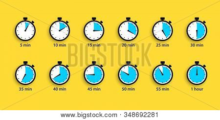 Set Of Simple Timers. Countdown Timer Vector Icons Set. Stopwatch Icons Set In Flat Style, Digital T
