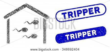 Mosaic Sperm Bank And Distressed Stamp Seals With Tripper Phrase. Mosaic Vector Sperm Bank Is Design