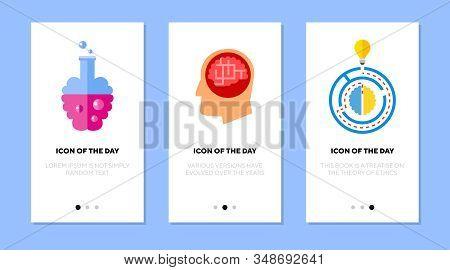 Brainwork Flat Icon Set. Human Head, Maze, Labyrinth, Lightbulb Isolated Sign Pack. Brain, Task Solu