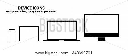 Device Icons. Smartphone, Tablet, Laptop, Desktop Computer. Set Of Devices Icons. Electronic Devices