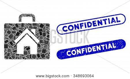 Mosaic Realty Case And Corroded Stamp Seals With Confidential Phrase. Mosaic Vector Realty Case Is C