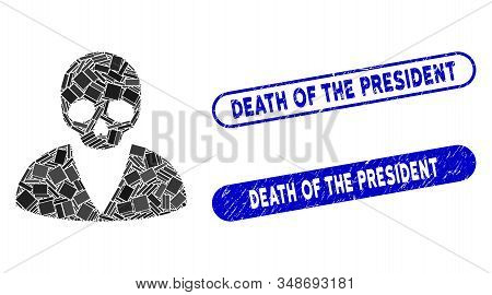 Mosaic Death Man And Distressed Stamp Seals With Death Of The President Text. Mosaic Vector Death Ma