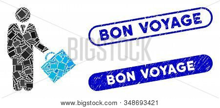 Collage Account Manager And Corroded Stamp Seals With Bon Voyage Caption. Mosaic Vector Account Mana