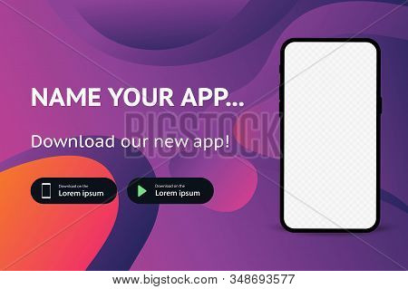 Download Page Of The Mobile App. Advertising Space For Your Application. Screenshot Space. Download