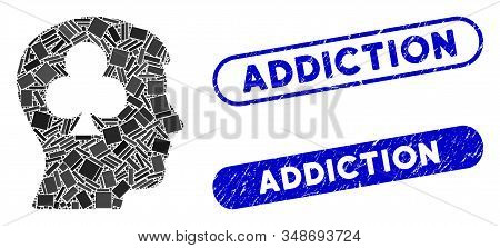 Mosaic Gambling Addiction Patient And Rubber Stamp Seals With Addiction Text. Mosaic Vector Gambling
