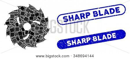 Mosaic Circular Wood Blade And Distressed Stamp Watermarks With Sharp Blade Caption. Mosaic Vector C
