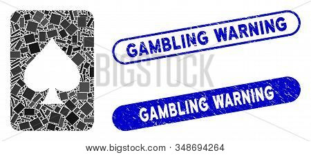 Mosaic Spades Gambling Card And Grunge Stamp Seals With Gambling Warning Text. Mosaic Vector Spades