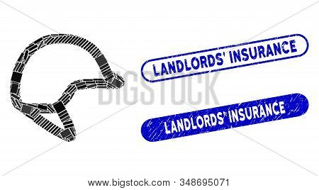 Mosaic Motorbike Hardhat And Rubber Stamp Seals With Landlords Insurance Phrase. Mosaic Vector Motor