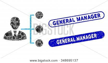 Mosaic Distribution Manager And Distressed Stamp Seals With General Manager Text. Mosaic Vector Dist