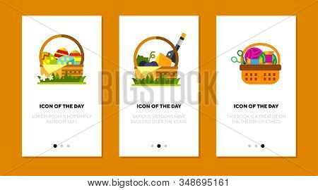 Baskets Flat Icon Set. Easter Colored Eggs, Wine, Chees, Sewing Stuff Isolated Sign Pack. Leisure, H