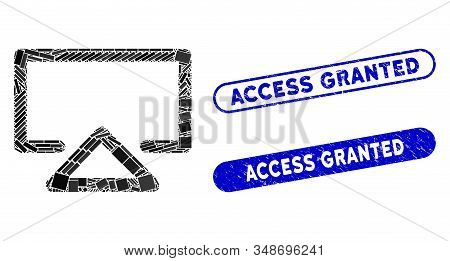 Mosaic Data Entry And Grunge Stamp Seals With Access Granted Phrase. Mosaic Vector Data Entry Is Des