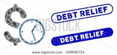 Collage Dollar Credit And Distressed Stamp Seals With Debt Relief Phrase. Mosaic Vector Dollar Credi
