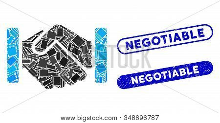 Mosaic Handshake And Distressed Stamp Watermarks With Negotiable Text. Mosaic Vector Handshake Is Fo
