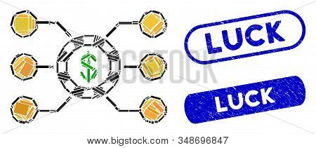 Mosaic Casino Chip Circuit And Grunge Stamp Seals With Luck Text. Mosaic Vector Casino Chip Circuit