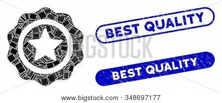 Mosaic Best Quality And Rubber Stamp Seals With Best Quality Caption. Mosaic Vector Best Quality Is