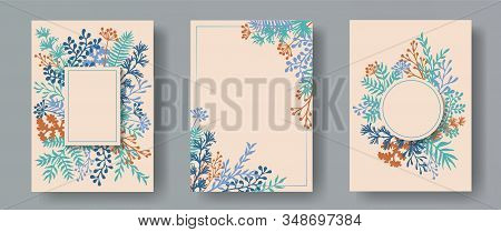 Hand Drawn Herb Twigs, Tree Branches, Flowers Floral Invitation Cards Collection. Plants Borders Mod