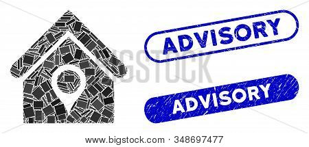 Collage House Location And Corroded Stamp Seals With Advisory Phrase. Mosaic Vector House Location I
