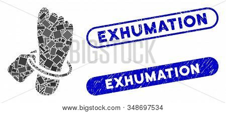 Collage Morgue Tagged Foot And Rubber Stamp Seals With Exhumation Phrase. Mosaic Vector Morgue Tagge