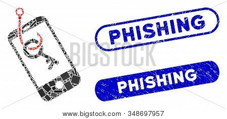 Collage Smartphone Key Phishing And Grunge Stamp Seals With Phishing Caption. Mosaic Vector Smartpho