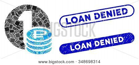 Mosaic Rouble Coins And Distressed Stamp Watermarks With Loan Denied Phrase. Mosaic Vector Rouble Co