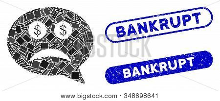 Mosaic Bankrupt And Rubber Stamp Seals With Bankrupt Phrase. Mosaic Vector Bankrupt Is Formed With R