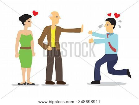 Man Reject By Woman Father. Concept Of Family Issues, Rejection Or Breakup. Vector Illustration.