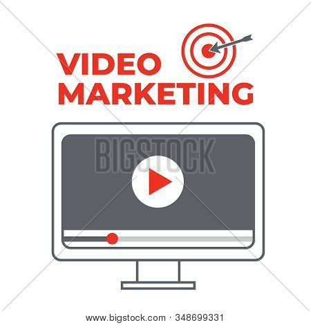 Video Marketing. Abstract Vector Concept Background. Goal And Target, Aim And Camera, Optimization M