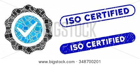 Mosaic Valid Seal And Grunge Stamp Seals With Iso Certified Phrase. Mosaic Vector Valid Seal Is Form