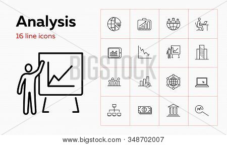 Analysis Line Icon Set. Graph, Presentation, Globe. Finance Concept. Can Be Used For Topics Like Glo