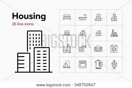 Housing Line Icon Set. Bedroom, Building, Kettle. Construction Concept. Can Be Used For Topics Like