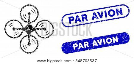 Collage Flying Drone And Distressed Stamp Seals With Par Avion Text. Mosaic Vector Flying Drone Is C