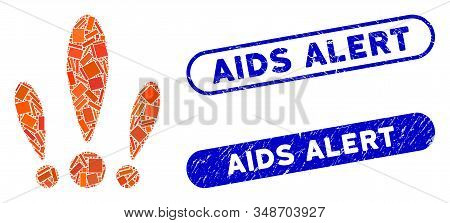 Mosaic Alert And Corroded Stamp Seals With Aids Alert Phrase. Mosaic Vector Alert Is Designed With S