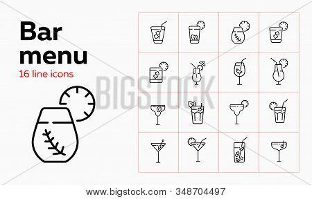 Bar Menu Line Icon Set. Mojito, Lemonade, Daiquiri. Drink Concept. Can Be Used For Topics Like Bar,