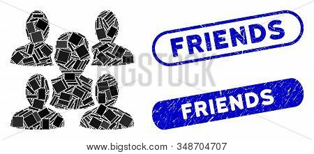 Mosaic Friends And Grunge Stamp Seals With Friends Text. Mosaic Vector Friends Is Composed With Rand