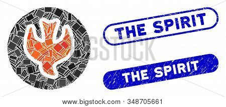 Mosaic Falling Soul And Grunge Stamp Seals With The Spirit Caption. Mosaic Vector Falling Soul Is Co