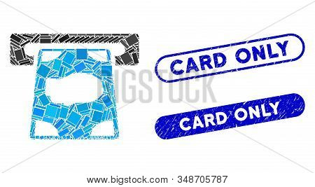 Mosaic Cashpoint And Rubber Stamp Seals With Card Only Caption. Mosaic Vector Cashpoint Is Designed