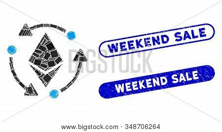 Collage Ethereum Rotation And Rubber Stamp Seals With Weekend Sale Phrase. Mosaic Vector Ethereum Ro