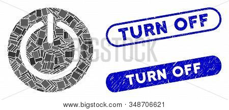 Collage Turn Off Power And Rubber Stamp Watermarks With Turn Off Phrase. Mosaic Vector Turn Off Powe