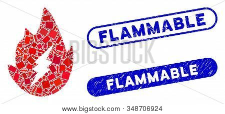 Mosaic Electric Spark Flame And Grunge Stamp Seals With Flammable Phrase. Mosaic Vector Electric Spa