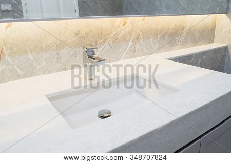Counter Top White Marble With Washbasin.wall And Floor Beige,grey Marble Stone Interior Design Of Re