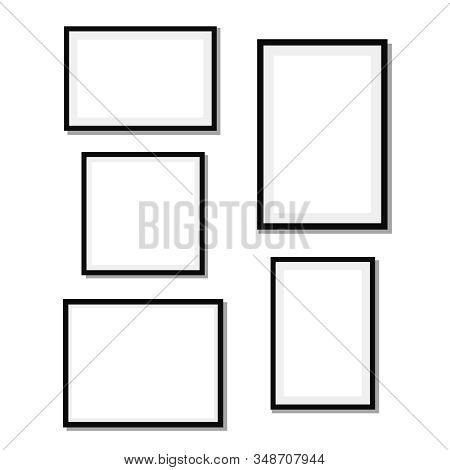 Frame Design. Frame For Picture. Set Of Black Blank Photo Frames
