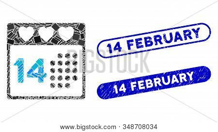 Mosaic Valentine Love Day And Grunge Stamp Seals With 14 February Phrase. Mosaic Vector Valentine Lo